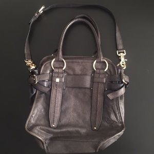 Anthropologie Schuler & Sons navy leather bag